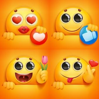 Satz gelbe smileygesicht emoji charaktere in den verschiedenen gefühlen und in den situationen