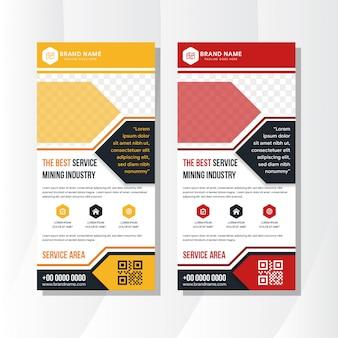 Satz gelbe und rote roll-up-geschäftsbanner-design verwenden vertikales layout. moderne publikationsanzeige nutzen platz für foto.