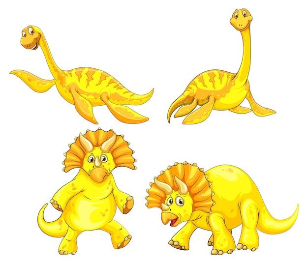 Satz gelber dinosaurier-cartoon-figur
