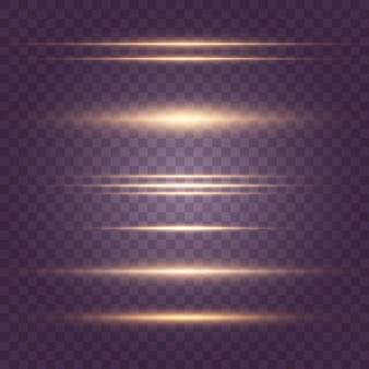 Satz gelbes horizontales linseneffektpaket. laserstrahlen, horizontale lichtstrahlen. schöne lichtfackeln. leuchtende streifen auf dunklem hintergrund. leuchtender abstrakter funkelnder gezeichneter hintergrund. eps 10