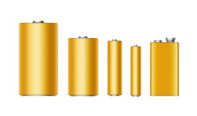Satz gelbgoldene glänzende alkalibatterien unterschiedlicher größe aaa, aa, c, d, pp3 und 9-volt-batterie nahaufnahme isoliert