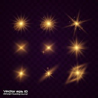 Satz gelbgoldenes leuchtendes licht explodiert auf transparent.