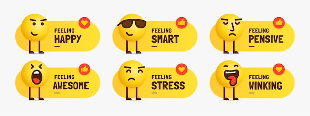 Satz gemischte gefühls-emoji-zeichen, die mit textbeschriftung stehen