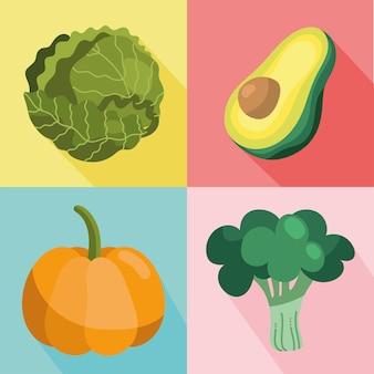 Satz gemüse gesundes essen