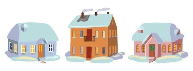 Satz gemütliche winterzeithäuser. farbige zeichnungen von schneebedeckten häusern. handgezeichnete vektorgrafiken. cartoon-cliparts-sammlung isoliert auf weiss.