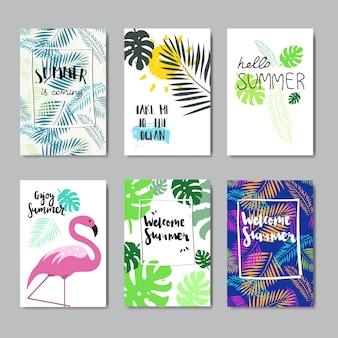 Satz genießen sommer flamingo abzeichen isoliert typografische