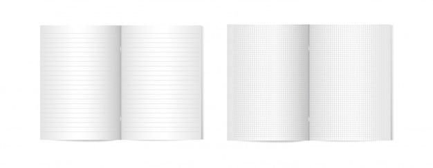 Satz geöffnete vertikale zeitschriften mit metallischer silberner klammer-, broschüren- oder notizbuchschablone auf weißem hintergrund.