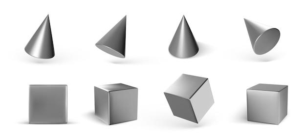 Satz geometrische würfel und kegel lokalisiert auf weiß