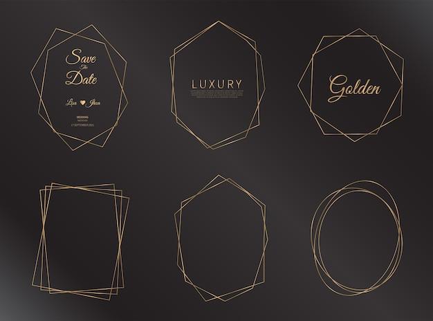 Satz geometrischer goldener rahmen. goldener rahmen für hochzeitseinladung.