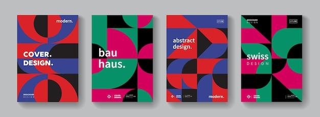 Satz geometrischer muster. sammlung cooler vintage-cover. abstrakte formen komposition bauhaus design. minimaler moderner hintergrund.