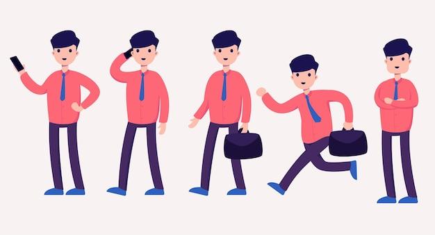 Satz geschäftsarbeiter mann in karikaturfigur mit verschiedenen aktionen, isolierte illustration