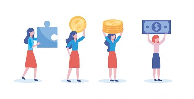 Satz geschäftsfrauen mit puzzlespiel und münzen mit rechnungen