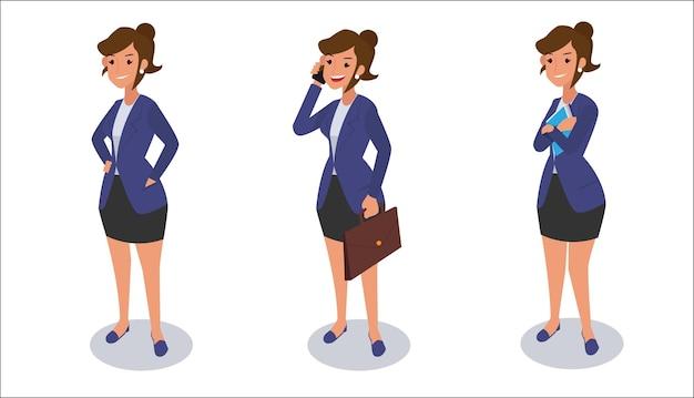 Satz geschäftsfrauencharakterillustration