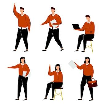 Satz geschäftsleute arbeiten von zu hause in der zeichentrickfigurensammlung, isolierte illustration