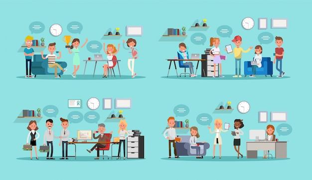 Satz geschäftsleute, die im büro arbeiten
