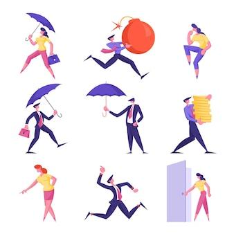 Satz geschäftsleute, die regenschirm halten