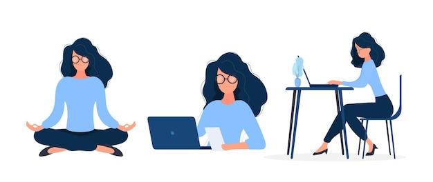 Satz geschäftsmädchen. das mädchen arbeitet an einem laptop. flacher stil. gut für image-arbeit, büro, personaleinstellung. .