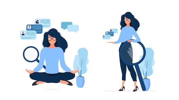 Satz geschäftsmädchen. rekrutierungsspezialist. stellenangebot, lebenslauf. geeignet für design zum thema arbeitssuche und arbeitnehmer. isoliert. .