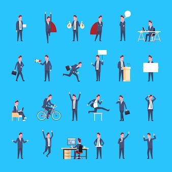 Satz geschäftsmanncharaktere männlicher büroangestellter, der geschäftsmann corporate different situations collection aufwirft