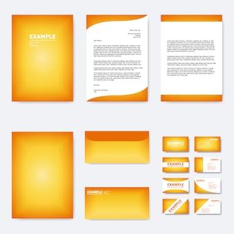 Satz geschäftspapierschablone mit quadratischem rahmen auf orange