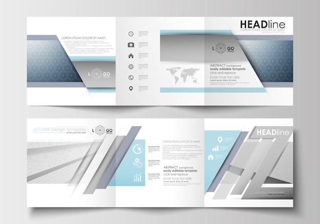 Satz geschäftsvorlagen für dreifach gefaltete broschüren. quadratisches design