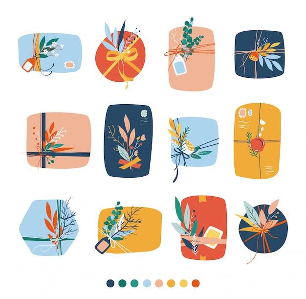 Satz geschenkbox. geschenkboxen draufsicht, wunderschön dekoriert mit blumen, schleifen, seil, briefmarken.