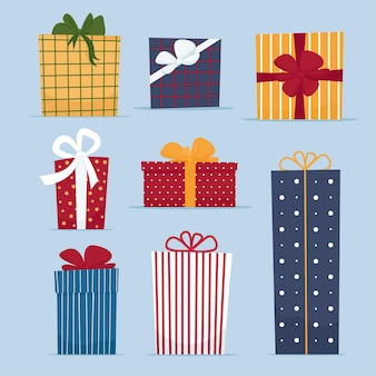Satz geschenkboxen in der karikatur-flachen art lokalisierte illustration für die begrüßung neujahrs-frohe weihnachten oder alles gute zum geburtstagkarte oder verkaufsfahne