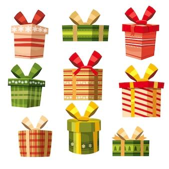 Satz geschenkboxen, karikaturart, fahne, vektor, illustration