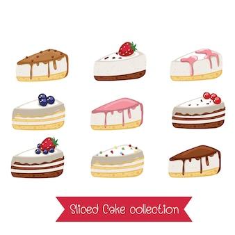 Satz geschnittene kuchen. karikaturillustration. farbige süße kuchenscheibenstücke lokalisiert auf weißem hintergrund.
