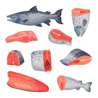 Satz geschnittene stücke und steaks von rotem lachsfisch