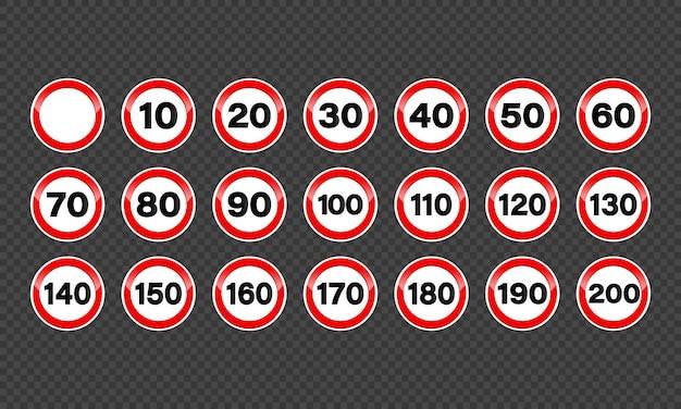 Satz geschwindigkeitsbegrenzungszeichen.