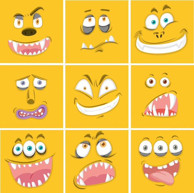 Satz gesichtsausdruck des gelben monsters