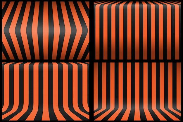 Satz gestreifter schwarzer und orange hintergrund.