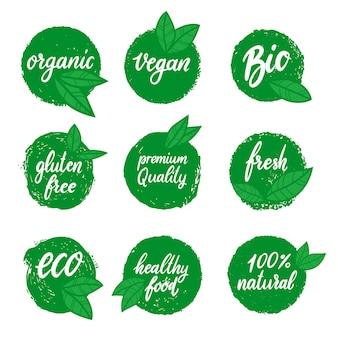 Satz gesunde lebensmittelembleme. öko, bio-lebensmittel. gestaltungselement für logo, etikett, schild, etikett, poster, flyer, banner. vektor-illustration