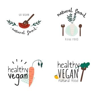 Satz gesunde vegane logovektoren