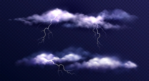 Satz gewitterwolken im dunkeln