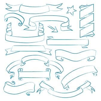 Satz gezeichnete bänder der weinlese hand