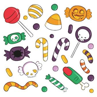 Satz gezeichnete halloween süßes oder saures bonbons