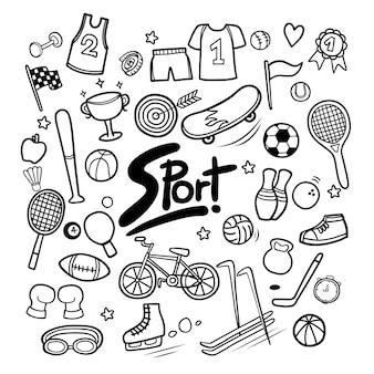 Satz gezeichnete kritzeleien der sportelemente in der hand