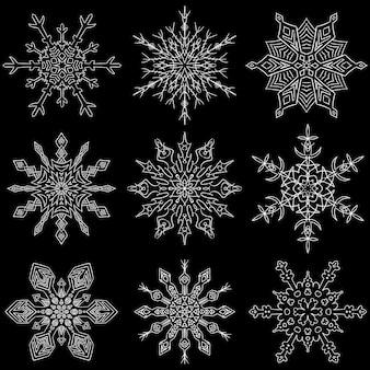 Satz gezeichnete schneeflockenschattenbilder