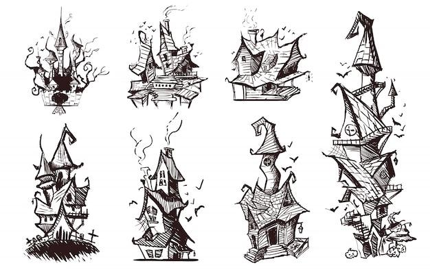 Satz gezeichnete unheimliche böse häuser, skizzenillustration.
