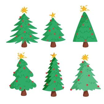 Satz gezeichnete weihnachtsbäume mit verzierungen
