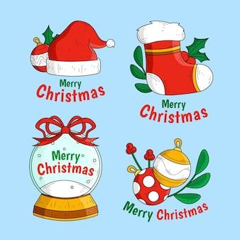 Satz gezeichnete weihnachtsetiketten