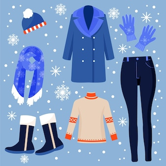Satz gezeichnete winterkleidung