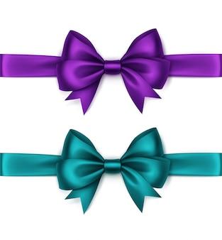 Satz glänzende türkisfarbene lila violette satinschleifen und -bänder draufsicht nahaufnahme lokalisiert auf weißem hintergrund