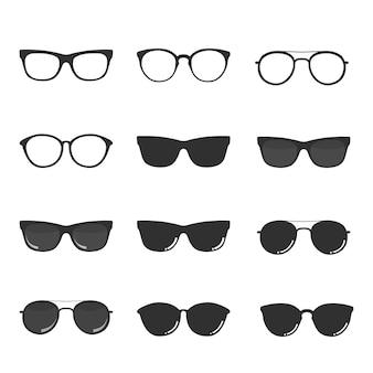 Satz gläser und sonnenbrille