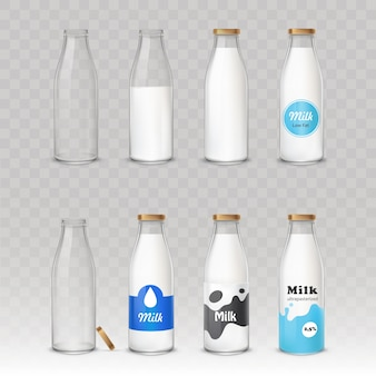 Satz glasflaschen mit milch mit verschiedenen aufklebern.