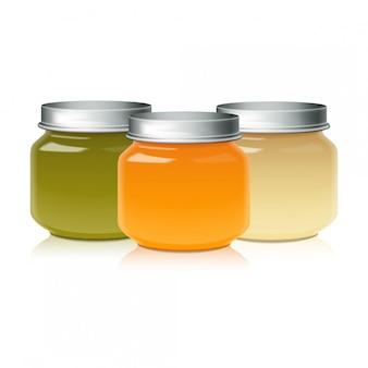 Satz glasglas für babynahrungspüree, honig, marmelade, gelee