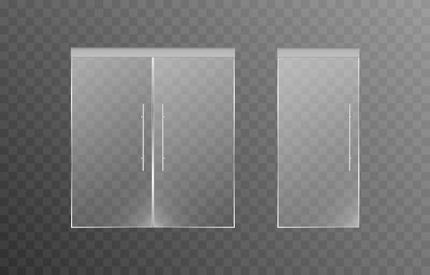 Satz glastüren auf einem isolierten transparenten hintergrundtüren des haupteingangs zu einem geschäft