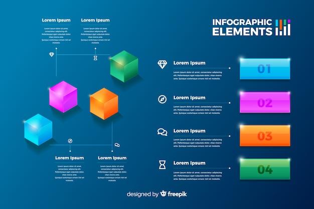 Satz glatte infographic elemente